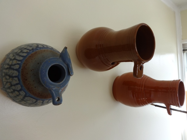 Bird Bottles - stone ware & red clay     NFS